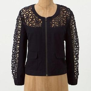 Anthropologie Elevenses Soutache Jacket- Navy- 8
